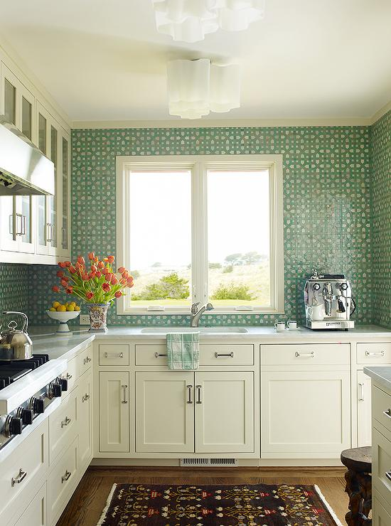 White Kitchen With Green Mosaic Tile Backsplash Transitional