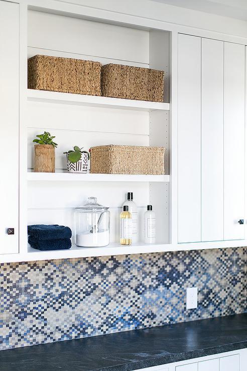 White And Gray Laundry Room With Brick Herringbone Floor