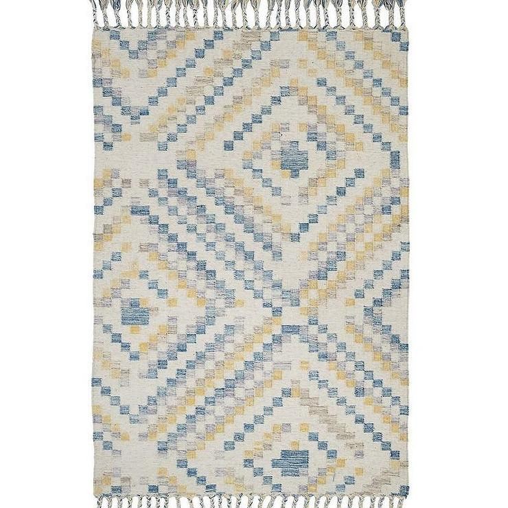 Blue And Gold Diamonds Kilim Rug