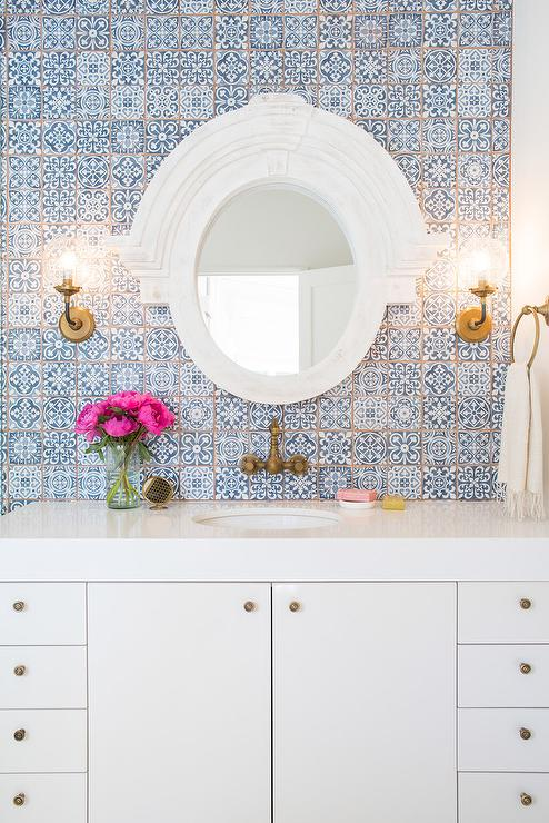 White And Blue Bathroom With Fez Blue Vintage Moroccan Victorian Encaustic Effect Pattern Wall