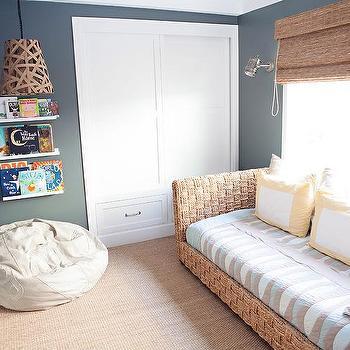 Charcoal Gray Boys Playroom With Seagrass Sofa