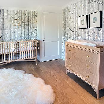 Mid Century Modern Nursery With Woods And Pears Wallpaper