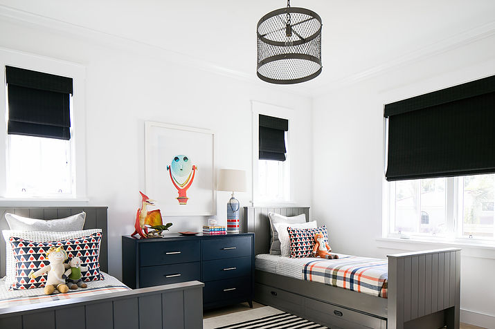 Charcoal Gray Twin Beds With Trundle And Orange And Black