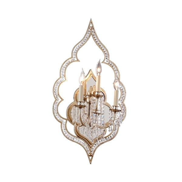 Silver Crystal Wall Sconces : Silver Crystal Scalloped Wall Sconce