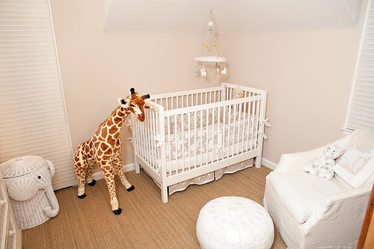 White And Beige Girl Nursery With White Wicker Elephant