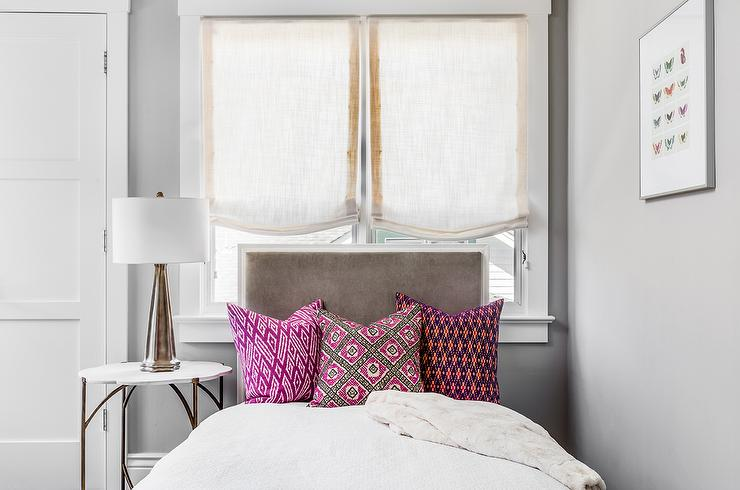 Pink And Gary Bedroom With One Bedside Table