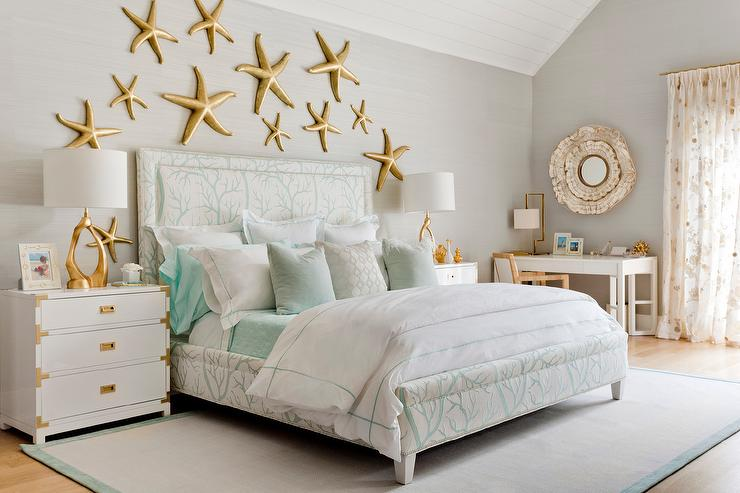 Contemporary Beach Cottage Bedroom with Gold Starfish Wall Decor ...