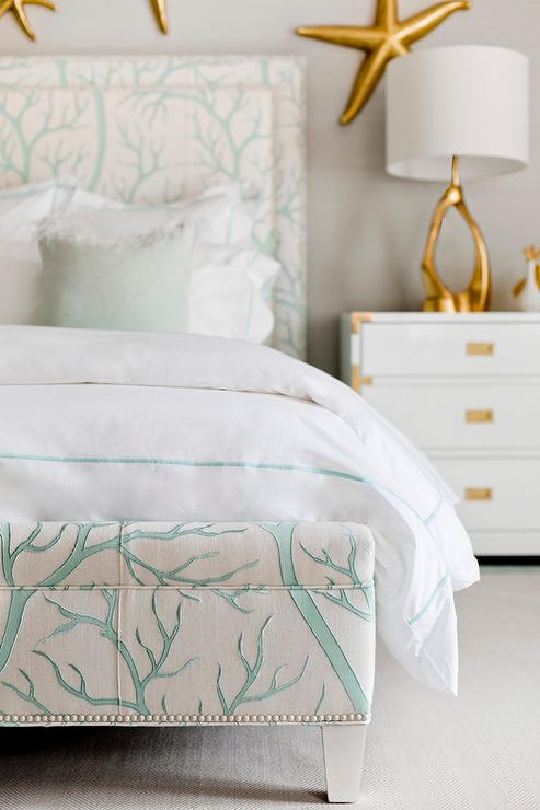 Gray And Green Bedroom With White And Gold Campaign Nightstand