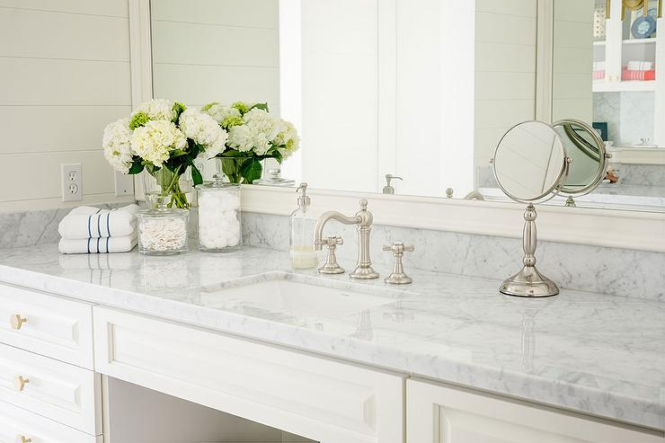 White Bath Vanity with Gray Marble Counters and Vintage Faucet Kit. White Bath Vanity with Gray Marble Counters and Vintage Faucet Kit
