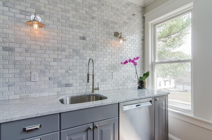 mini subway tile kitchen backsplash gray kitchen cabinets with gray marble mini subway tiles 9174
