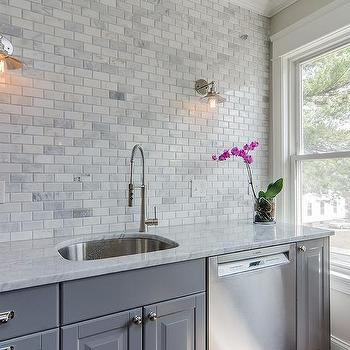 Gray Kitchen Cabinets With Marble Mini Brick Tile
