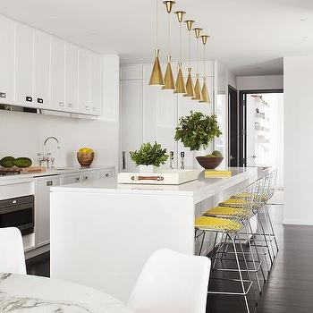 White And Yellow Kitchen With Inset Pulls