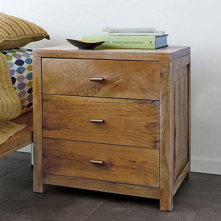 Three Drawer Brown Side Table