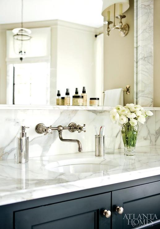 Black Bath Vanity With Marble Backsplash Ledge