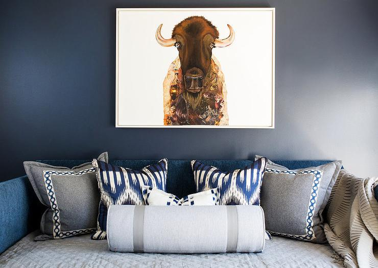 Blue Velvet Skirted Daybed With Blue Ikat Pillows And American Bison Inspiration How To Decorate A Daybed With Pillows