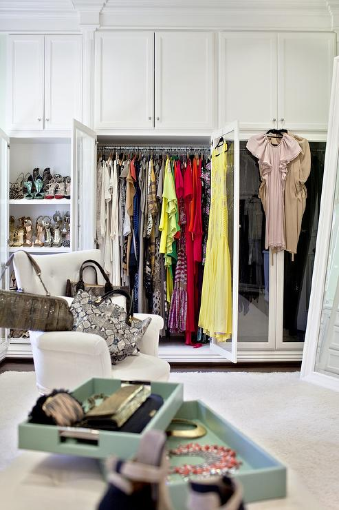 Closet Wardrobe Cabinet With Double Glass Doors