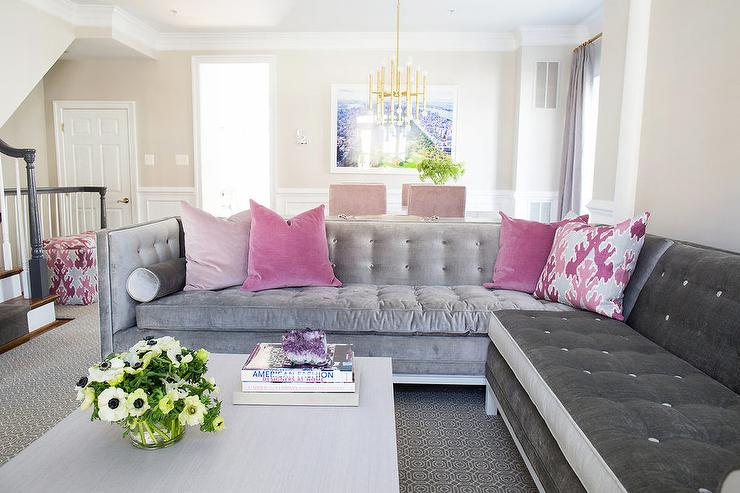 Enjoyable Gray Velvet Tufted Sectional With Blush Pink Velvet Pillows Gmtry Best Dining Table And Chair Ideas Images Gmtryco