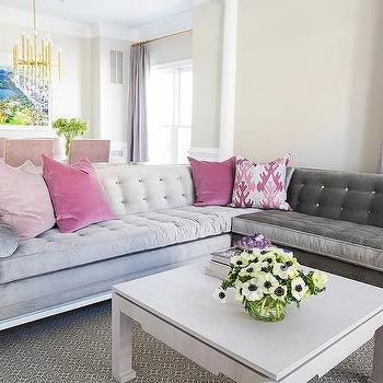 Gray Velvet Sectional With Gray Cocktail Table