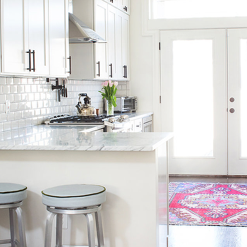 White and Gray Kitchen with Pink Rug and Crate and Barrel Spin Swivel Backless Counter Stools & Crate And Barrel Spin Swivel Backless Counter Stool Design Ideas islam-shia.org