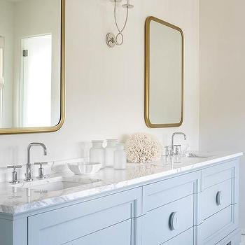 White dual bath vanity with shiny gold hardware and mirror for Flat bathroom mirror