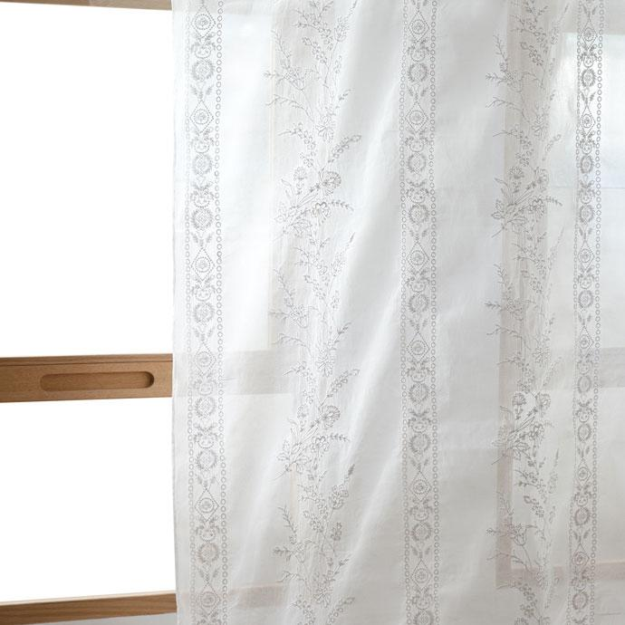 White Embroidered Organza Curtain