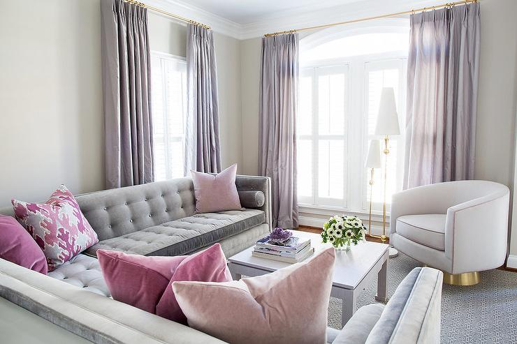 Gray and pink living room with purple curtains for Living room ideas pink and grey