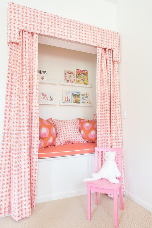 Pink Kids Reading Nook with Pink Valance and Curtains - Transitional ...