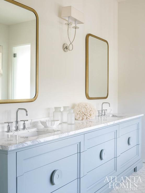Powder Blue Dual Washstand With Brass Mirrors