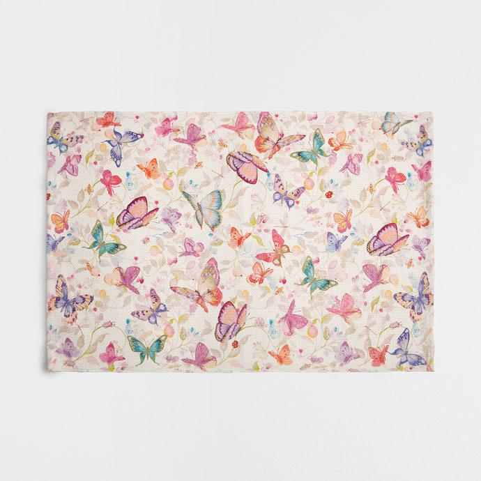 Multicolor Butterfly Print Rug