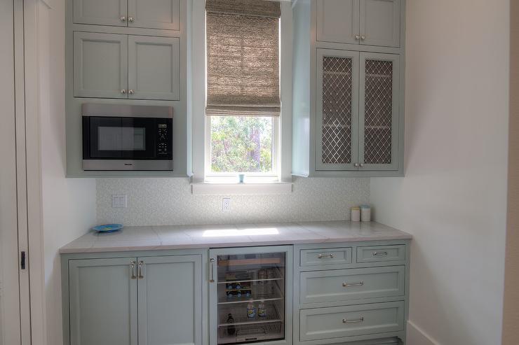 Blue Butler Pantry Cabinets With Metal Lattice Cabinet Doors