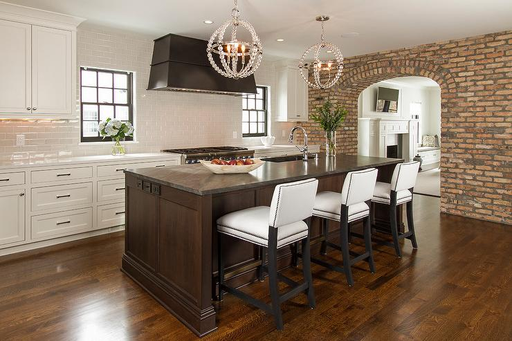 White And Brown Kitchen With Danville Sphere Chandelier