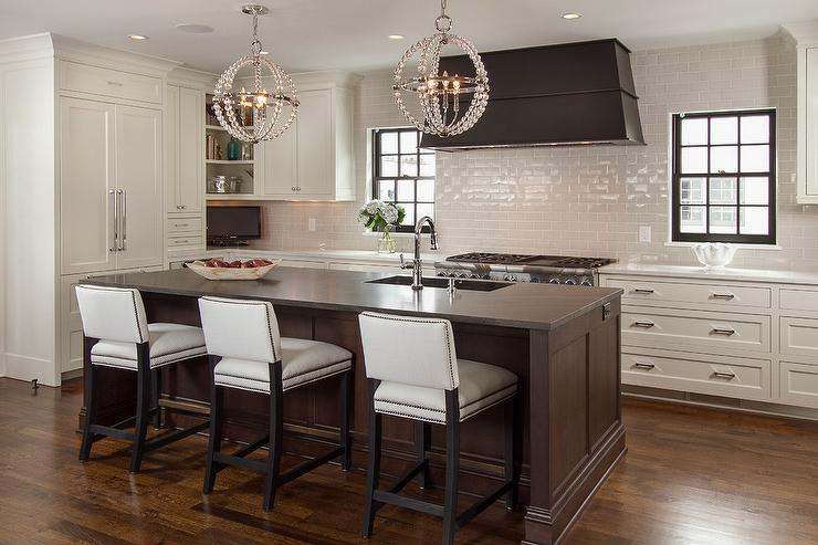 Stools On Two Sides Of Kitchen Island Transitional Kitchen