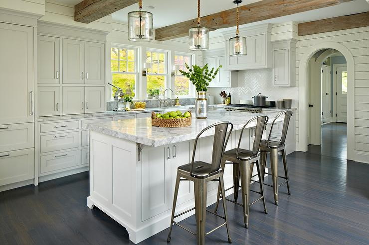 Light Gray Kitchen With Dark Cabinets light gray cabinets with white kitchen island - transitional - kitchen