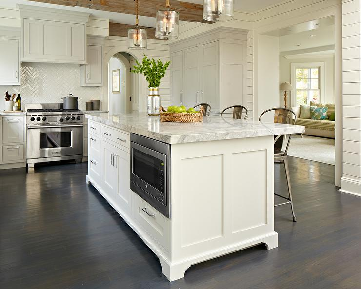 Light Gray Kitchen With Dark Cabinets gray shaker kitchen cabinets with dark stained wood floors and