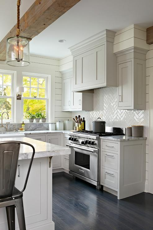 Light Gray Shaker Kitchen Cabinets With Glossy White Herringbone - Light gray shaker cabinets