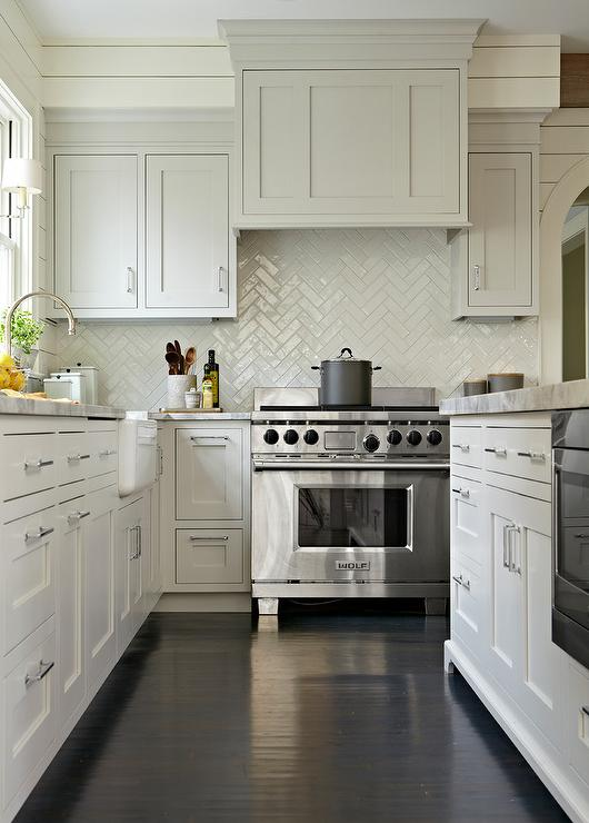 Gray Shaker Kitchen Cabinets With Dark Stained Wood Floors And White - Light gray stained kitchen cabinets