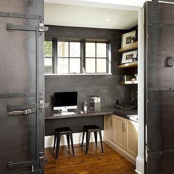 Black Built In Cabinets Contemporary Den Library