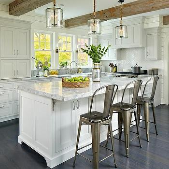 Light Gray Cabinets With White Kitchen Island
