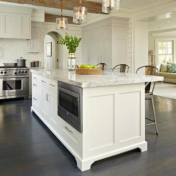 Merveilleux Gray Kitchen Cabinets With White Island And Rope And Seeded Glass Light  Pendants