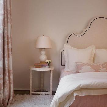 pale pink grown up bedroom with garden of persia blush fabric