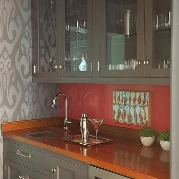 Gray Kitchen with Orange Accents - Contemporary - Kitchen on blue gray countertops, orange gray wall cabinets, orange gray paint, silver gray countertops, orange gray carpet, orange gray kitchen, charcoal gray countertops, orange gray bathroom,
