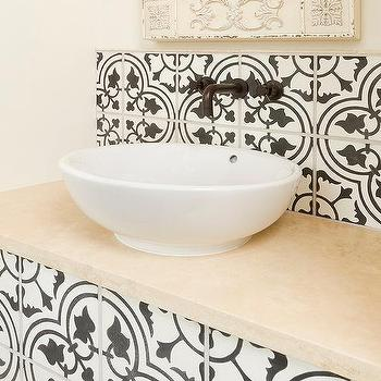 White and Black Powder Room with Moroccan Mirror