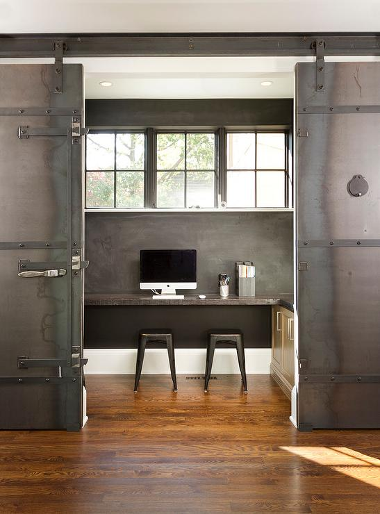 Black accent wall contemporary den library office for Barn doors for home office