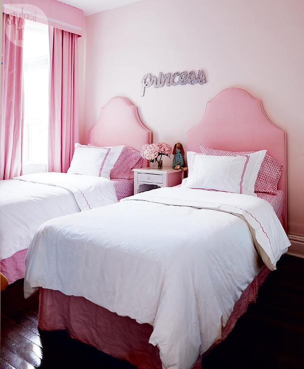 Pink Girls Bedroom with Pink Valance and Drapery Panels ...