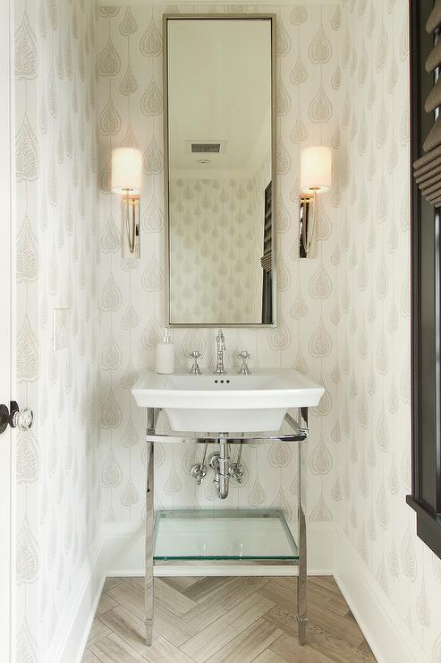 Tan Powder Room With Herringbone Tile Floor Transitional Bathroom