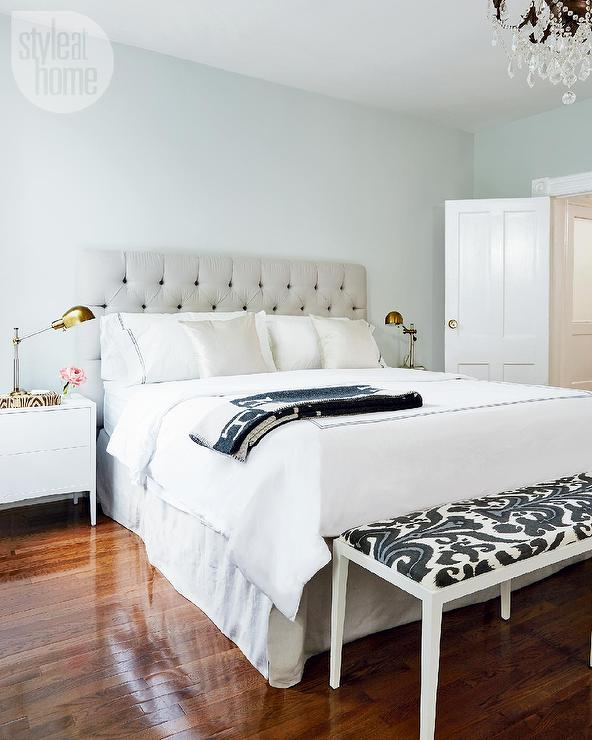 White and Gray Bedroom with Black Ikat Bench - Contemporary ...