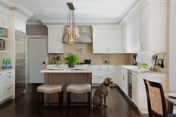 Brown Kitchen Island With Gray Sandstone Countertops And