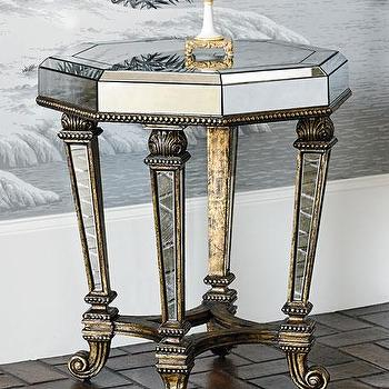 Octagonal Antique Mirrored Accent Table