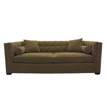 blue tufted bolster pillow sofa