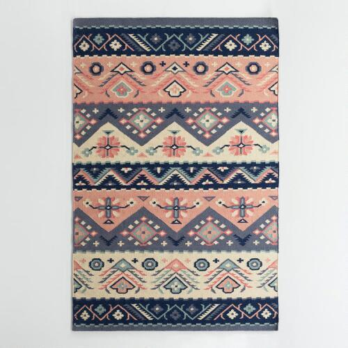 Nice Navy And Coral Wool Reversible Rug View Full Size